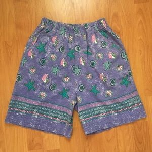 Vtg American Shortif All Over Sea Shell Shorts S